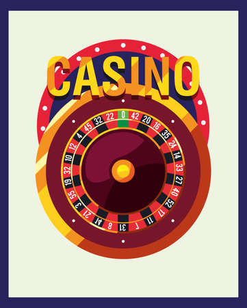 roulette machine signboard casino game bets vector illustration Ilustrace