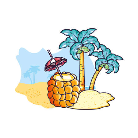 cocktail of pineapple in the beach vector illustration design