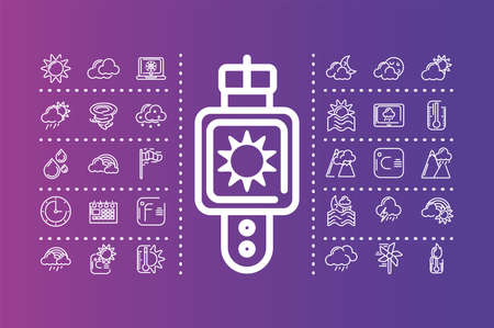 smartwatch with weather icons set over purple background, colorful design, vector illustration