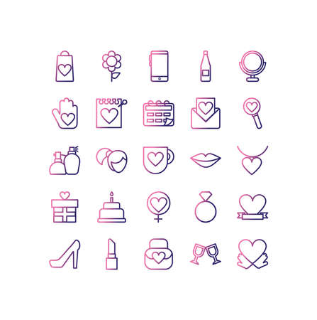 set of icons women day,gradient style icon vector illustration design