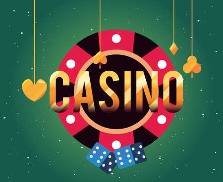 chip dices hanging suit cards casino game bets vector illustration