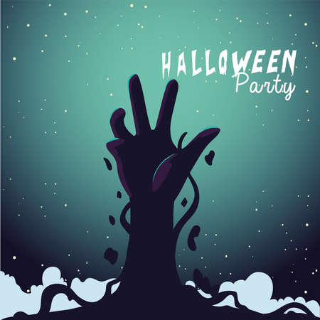 Halloween zombie hand at night design, Holiday and scary theme Vector illustration
