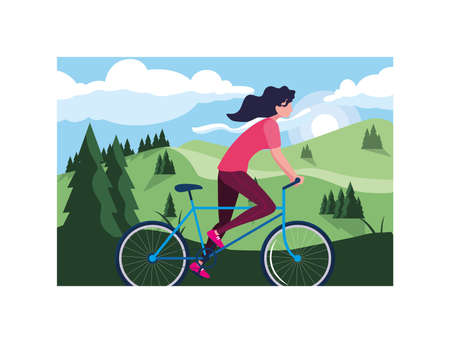woman with bicycle, woman with healthy lifestyle vector illustration design