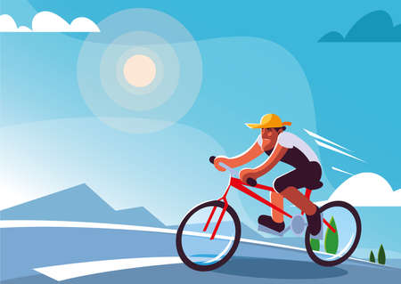 man riding bicycle outdoors, healthy lifestyle vector illustration design