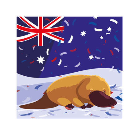 platypus with australia flag in the background vector illustration design