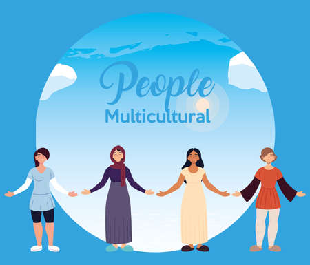 latin muslim indian and european women cartoons in front of sky design, diversity people multicultural friends and multi-ethnic theme Vector illustration Illustration