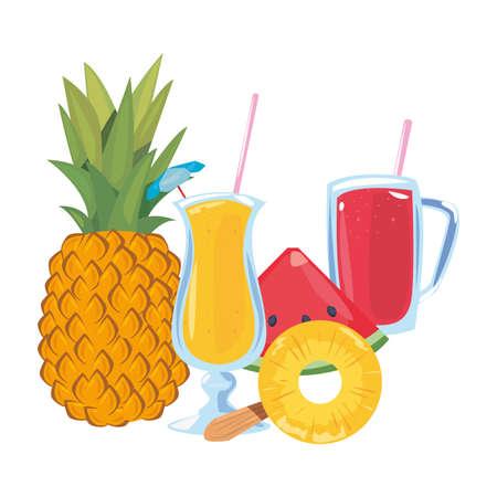 summer time holiday pineapple juice watermelon ice cream vector illustration Illusztráció