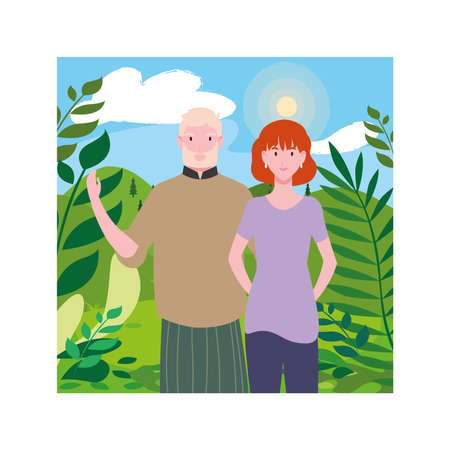 couple of people with background landscape vector illustration design