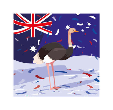 ostrich with australia flag in the background vector illustration design