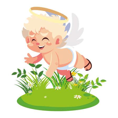 cute cupid angel, valentines day vector illustration design