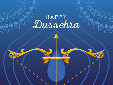 happy Dussehra label with golden bow and arrow vector illustration design Vetores