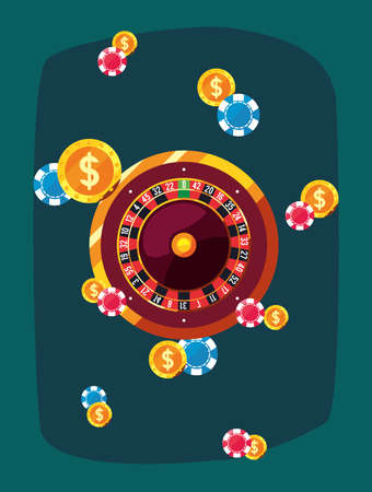 roulette dices coins chips casino game bets vector illustration design Ilustrace