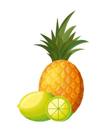 fresh pineapple with lemons fruits vector illustration design Illusztráció