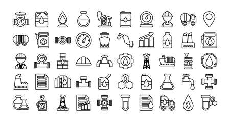 set of icons oil, line style icon vector illustration design