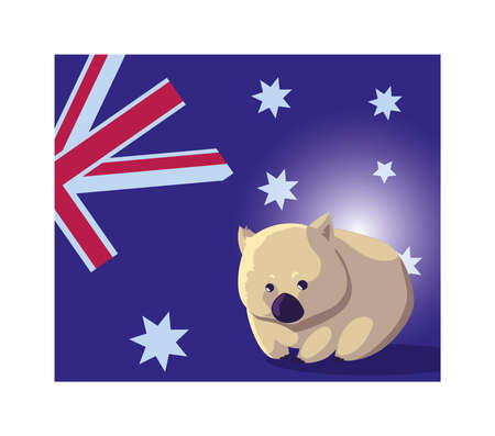 wombat with australia flag in the background vector illustration design