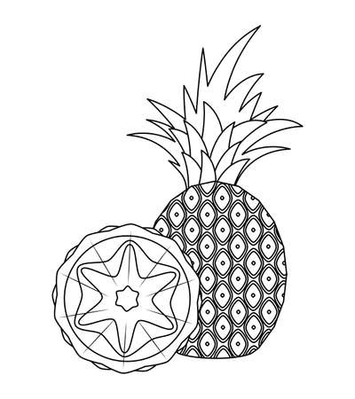 fresh pineapple fruit with slice vector illustration design