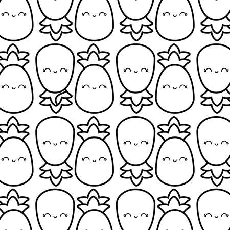 pattern of pineapples fruits kawaii character vector illustration design