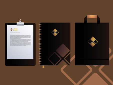 Black classic corporate identity stationery on brown background vector illustration design