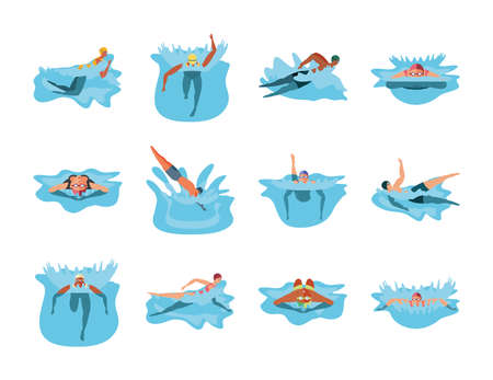 set of icons with people in swimming vector illustration design