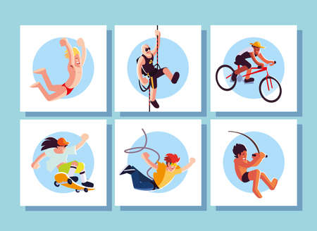 set of cards people in sports activities vector illustration design