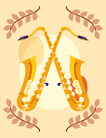 Saxophones instruments and leaves design, Music sound melody song musical art and composition theme Vector illustration