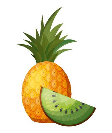 fresh pineapple with slice kiwi fruits vector illustration design