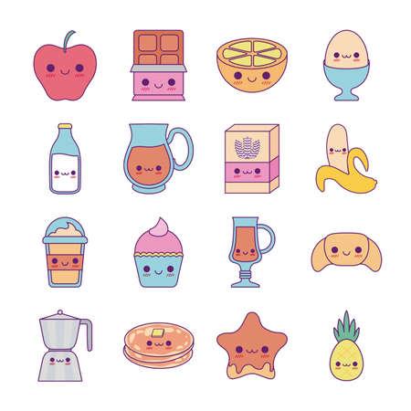 line and fill style icon set design, Kawaii food cartoons theme Vector illustration