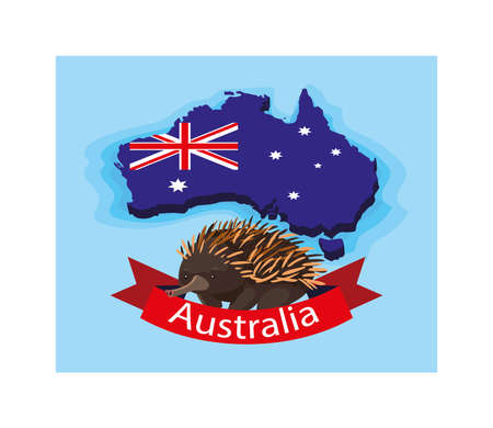 in australia map, australian animal vector illustration design