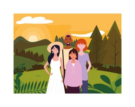group of people with background landscape vector illustration design