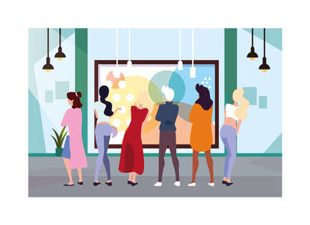 group of people in contemporary art gallery, exhibition visitors viewing modern abstract paintings vector illustration design