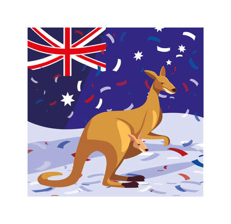 kangaroo with australia flag in the background vector illustration design