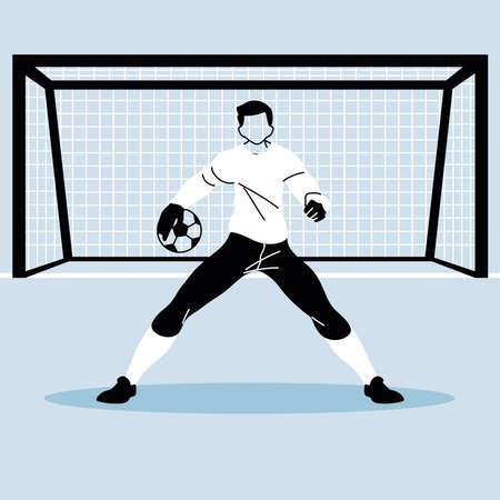 soccer goalkeeper catching a ball vector illustration design