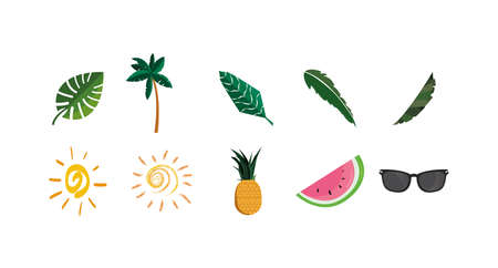 Icon set design, Summer vacation tropical relaxation outdoor nature tourism relax lifestyle and paradise theme Vector illustration