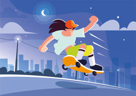 young man riding a skateboard outdoors vector illustration design