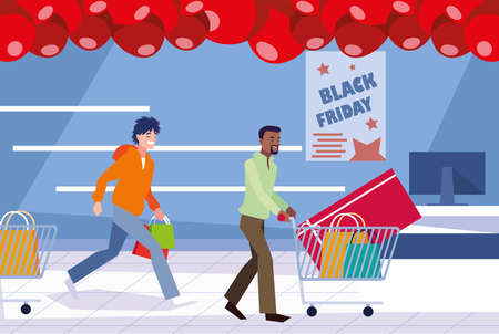 group of people in day black friday vector illustration design