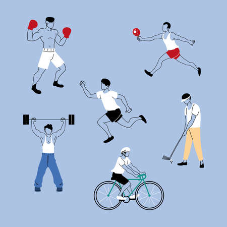 group of people in sports activities vector illustration design Vectores