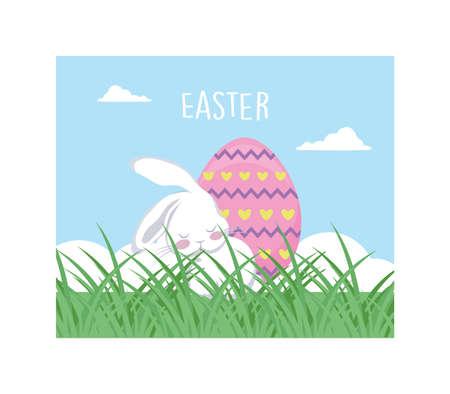 rabbit with easter label and egg, greeting card vector illustration design Иллюстрация