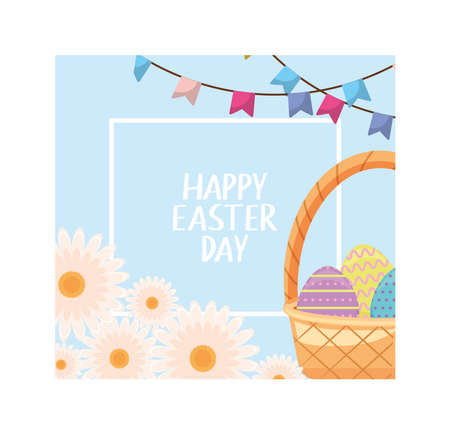happy easter day label with wicker basket and colorful easter eggs vector illustration design