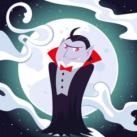 Halloween vampire cartoon at night design, Holiday and scary theme Vector illustration