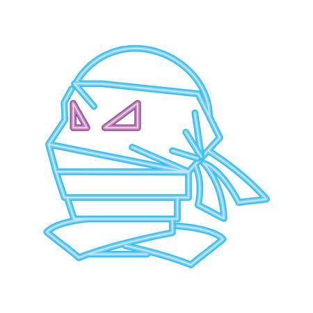 mummy in neon light for halloween vector illustration design Illusztráció
