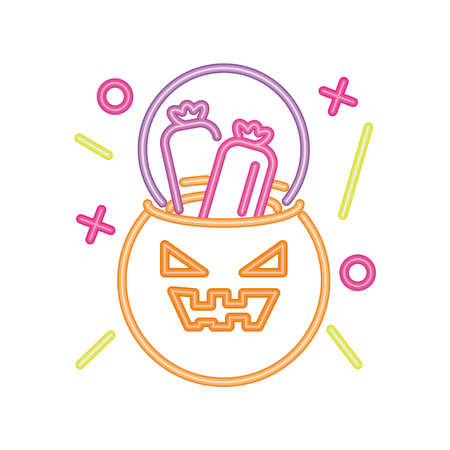 pumpkin with candy in neon light for halloween, trick or treat vector illustration design