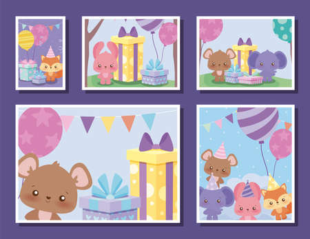 animals cartoons design, Happy birthday card celebration decoration surprise party anniversay and invitation theme Vector illustration Illusztráció