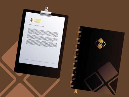 Black classic corporate identity stationery on brown background vector illustration design Illusztráció