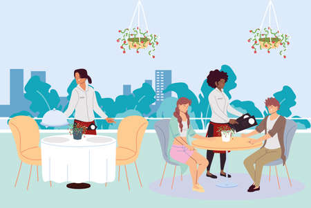 People dining in an upscale outdoor luxury restaurant and waiters taking the order vector illustration design