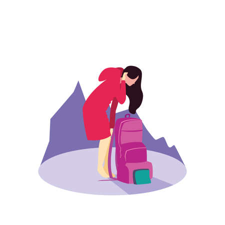 young woman with travelbag icon vector illustration design Ilustração