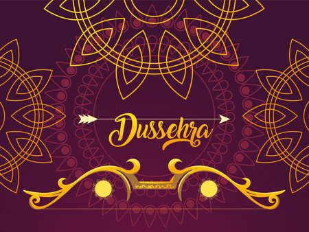 Dussehra label with golden bow and arrow vector illustration design