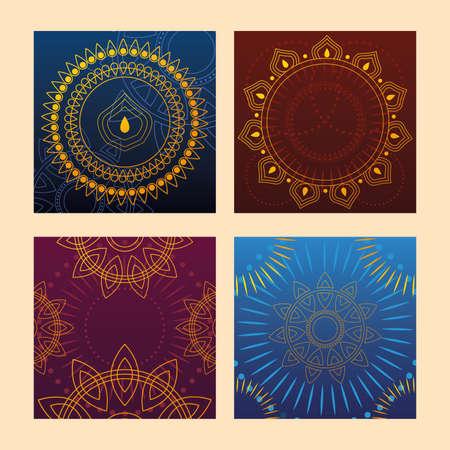 set of templates for cards, indian festival vector illustration design