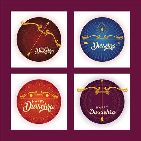 set of templates for indian festival dussehra celebration vector illustration design Vetores