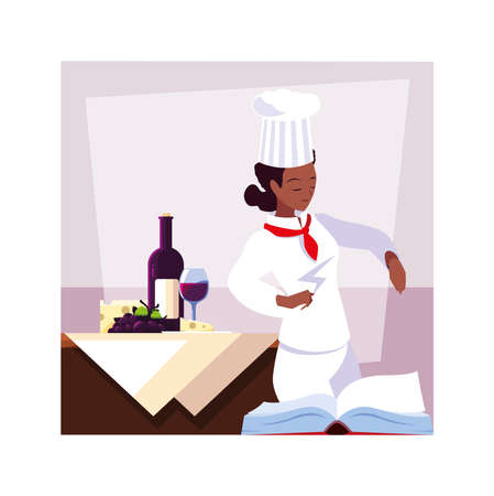 woman cooking, chef in white uniform illustration design