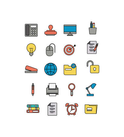 set of icons office , line style icon illustration design 矢量图像